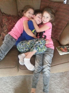 His little sisters tackled him when he got home.
